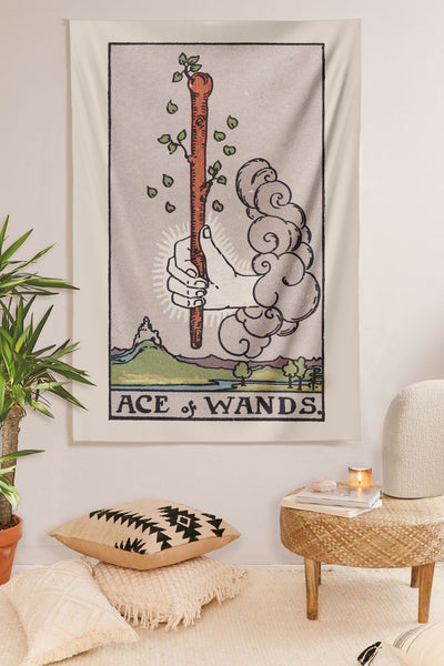 Ace of Wands Tapestry tapestry NirvanaThreads