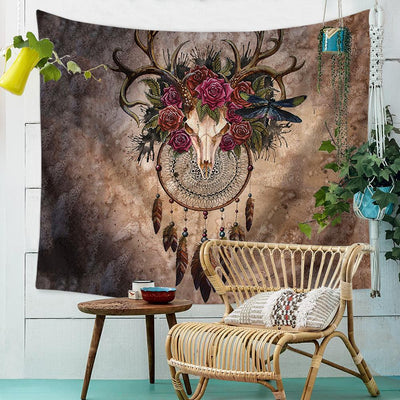 Skull Dreamcatcher Tapestry-nirvanathreads