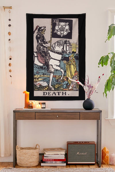 Death Tarot Tapestry tapestry NirvanaThreads - YYT BLACK / 60x40 inches / 150x100 cm