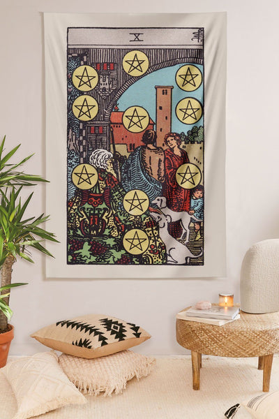 10 of Pentacles Tapestry tapestry NirvanaThreads