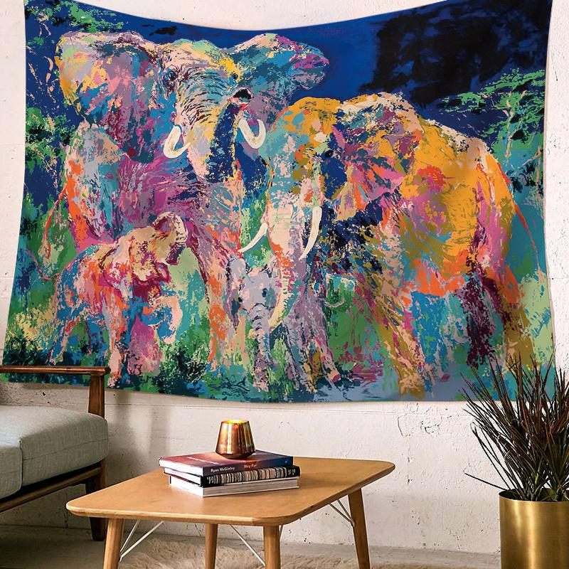 Painted Elephant Tapestry-nirvanathreads