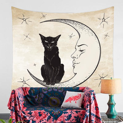 Black Cat Tapestry-nirvanathreads