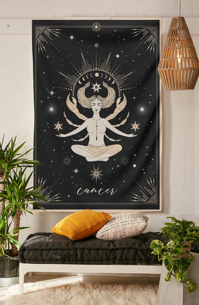 The-Cancer Tapestry-is-a-great-gift-to-say-I-love-you-but-I-also-love-astrology-tarot-wall-hanging-boho-bedroom-zodiac-vibes-from-NirvanaThreads-Nirvana-Threads