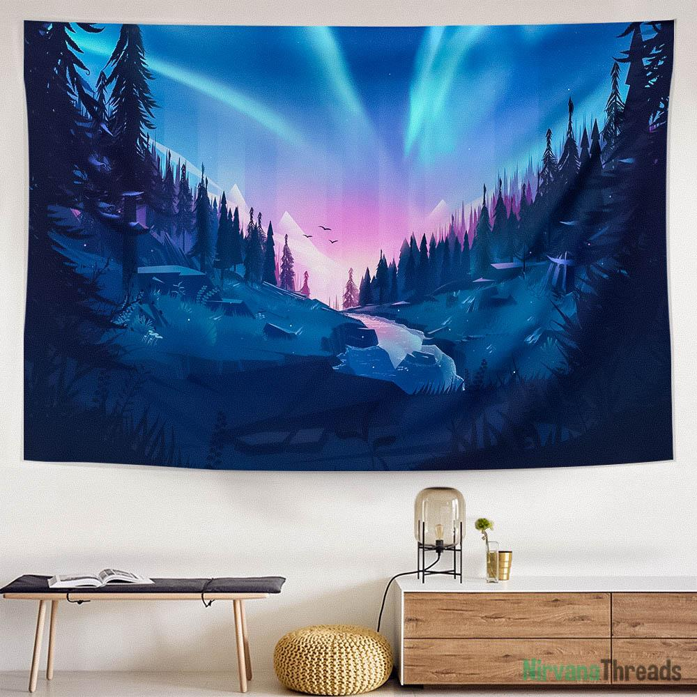 Northern Lights Tapestry-nirvanathreads
