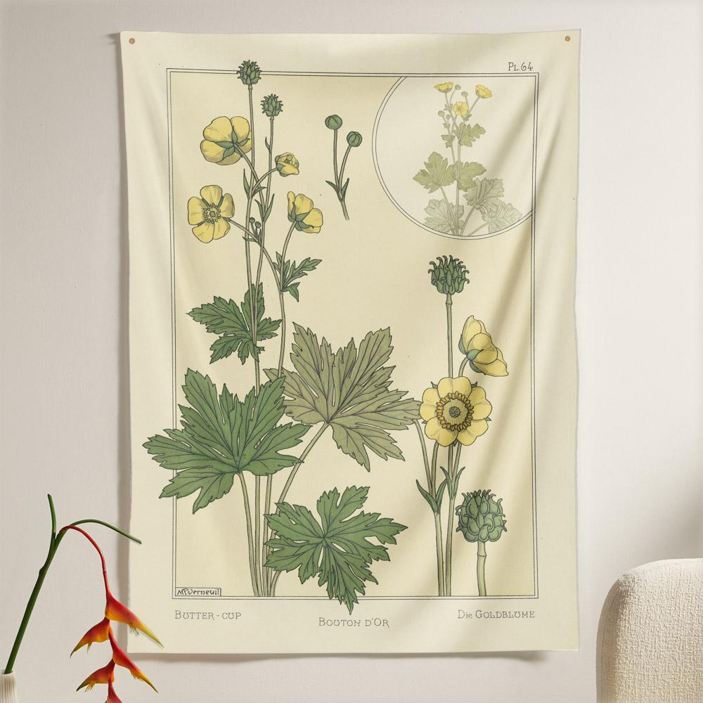 The Buttercup Flower Tapestry (80x60 inches / 200x150 cm) from Nirvana Threads is the perfect vintage flora gift to say I love you but I also love classic garden floral wall hanging boho bedroom vibes