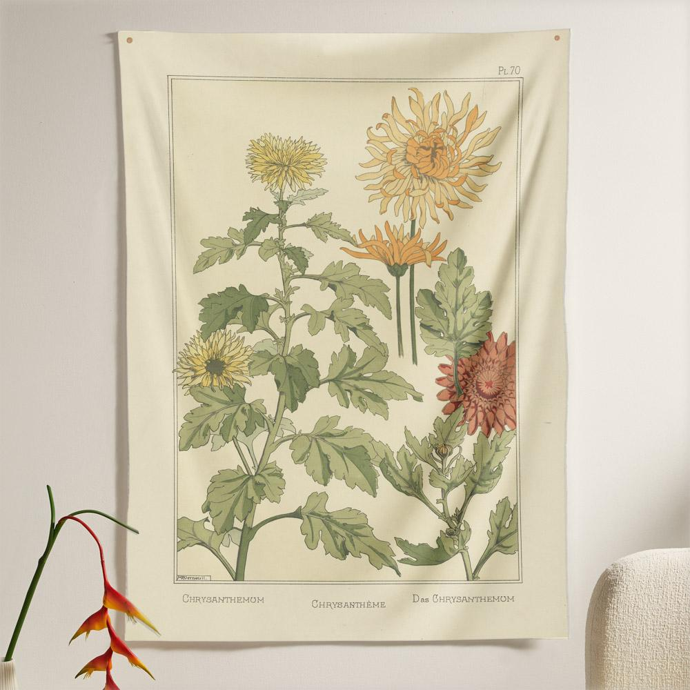 The Chrysanthemum Flower Tapestry (80x60 inches / 200x150 cm) from Nirvana Threads is the perfect vintage flora gift to say I love you but I also love classic garden floral wall hanging boho bedroom vibes