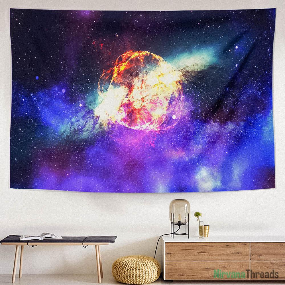 Rainbow Galaxy Tapestry-nirvanathreads