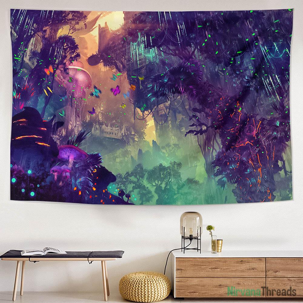 Glowing Forest Tapestry-nirvanathreads