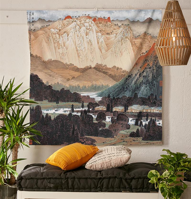 Japanese Mountain Tapestry-nirvanathreads