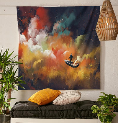 Painted Rowboat Tapestry-nirvanathreads