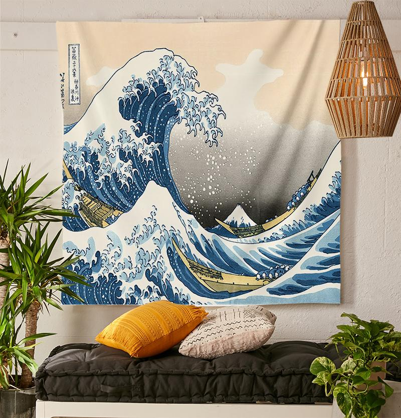 Japanese Wave Tapestry-nirvanathreads