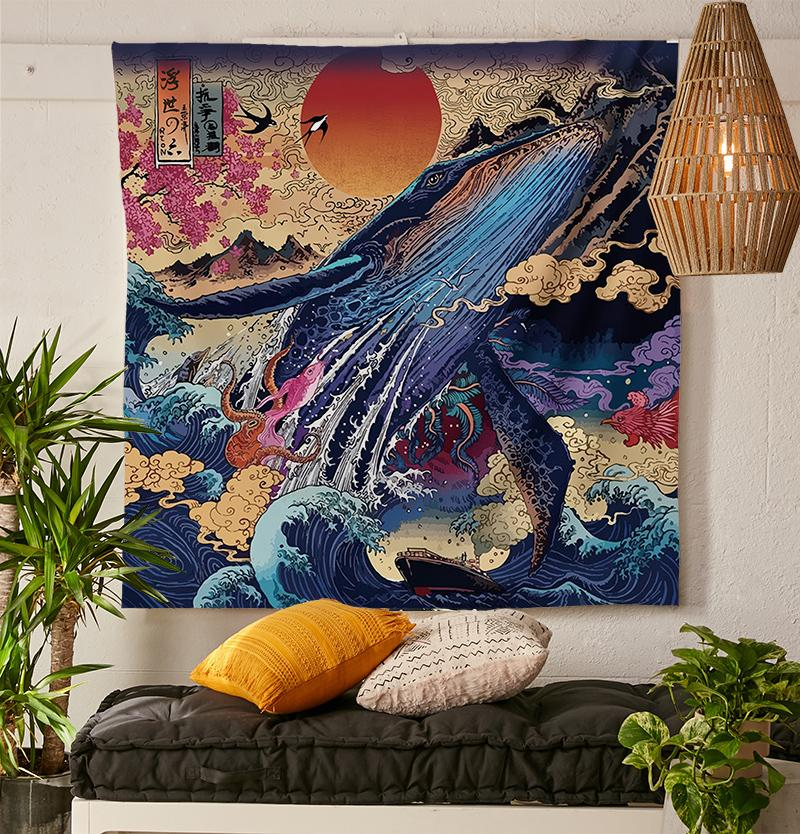 Blue Whale Tapestry-nirvanathreads