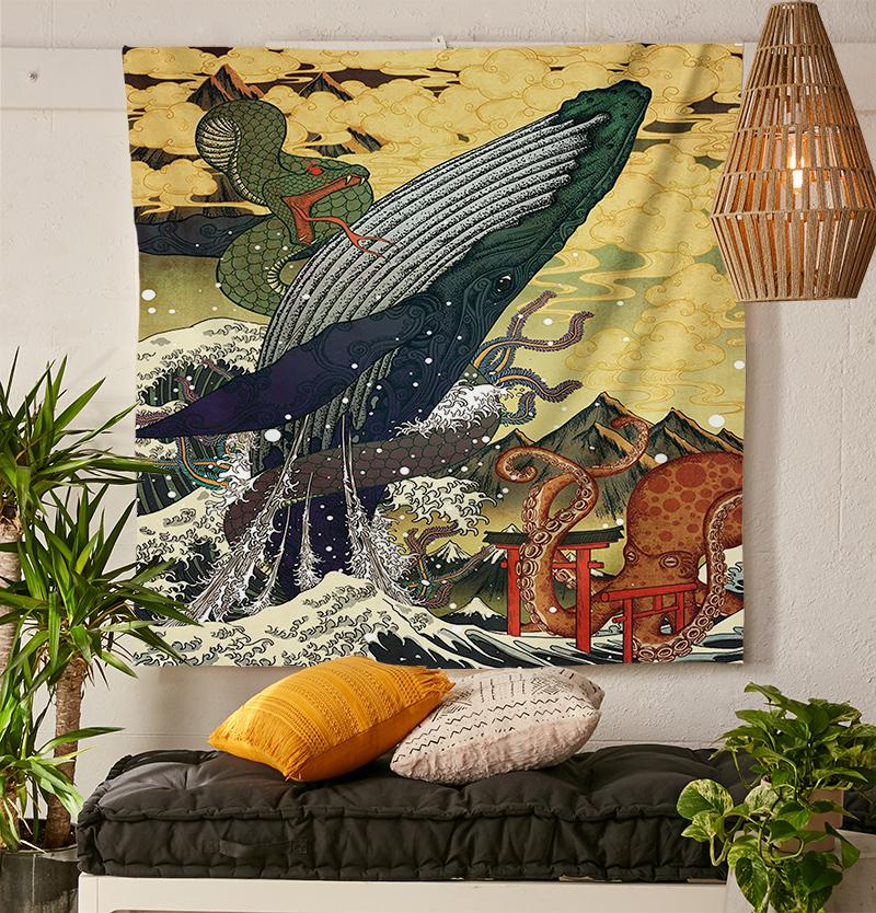 Diving Whale Tapestry-nirvanathreads