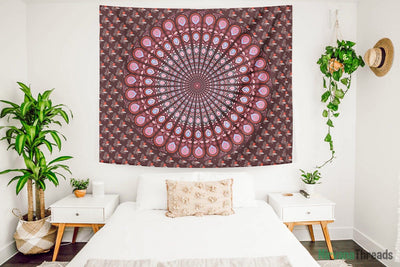 Sun Peacock Mandala Tapestry-nirvanathreads