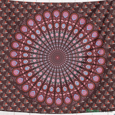 Ruby Peacock Mandala Tapestry-nirvanathreads