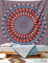 Red Peacock Mandala Tapestry tapestry NirvanaThreads - YYT