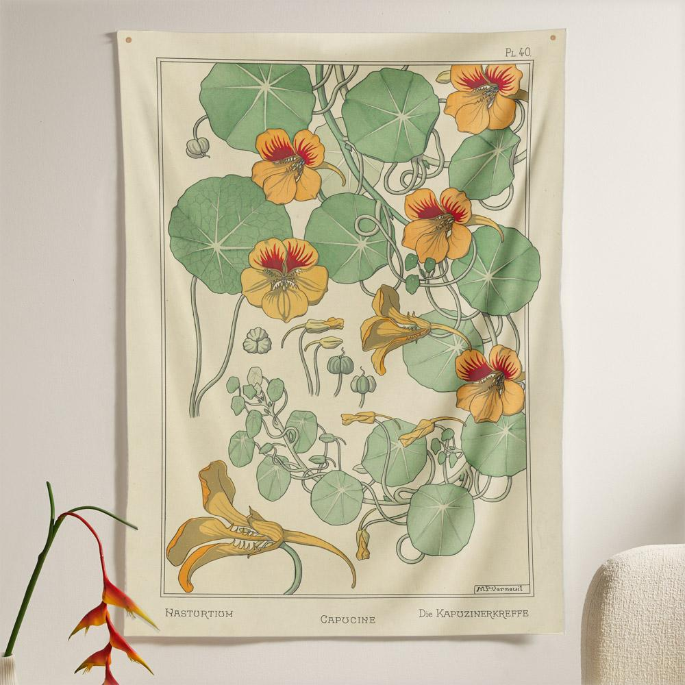The Nasturtium Flower Tapestry (80x60 inches / 200x150 cm) from Nirvana Threads is the perfect vintage flora gift to say I love you but I also love classic garden floral wall hanging boho bedroom vibes