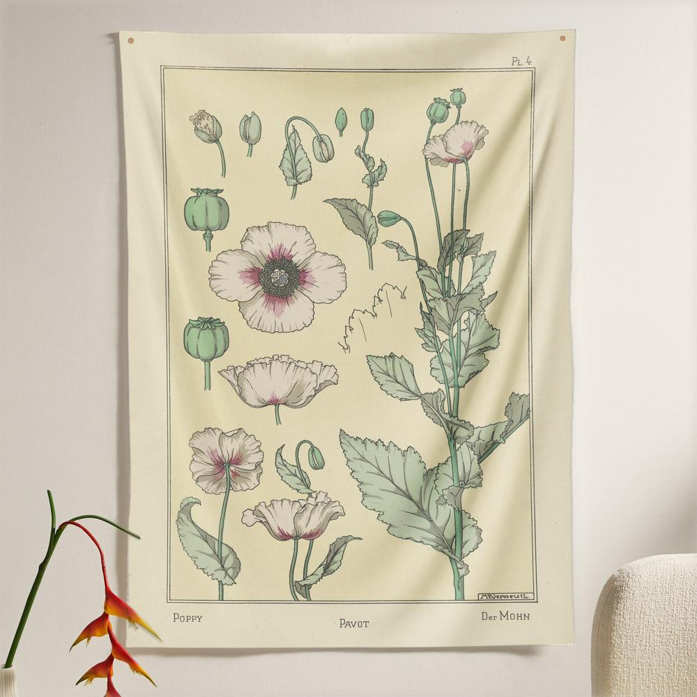 The Poppy Flower Tapestry (80x60 inches / 200x150 cm) from Nirvana Threads is the perfect vintage flora gift to say I love you but I also love classic garden floral wall hanging boho bedroom vibes
