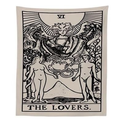 Lovers Tarot - White Tapestry tapestry nirvanathreads 60 x 40 inches