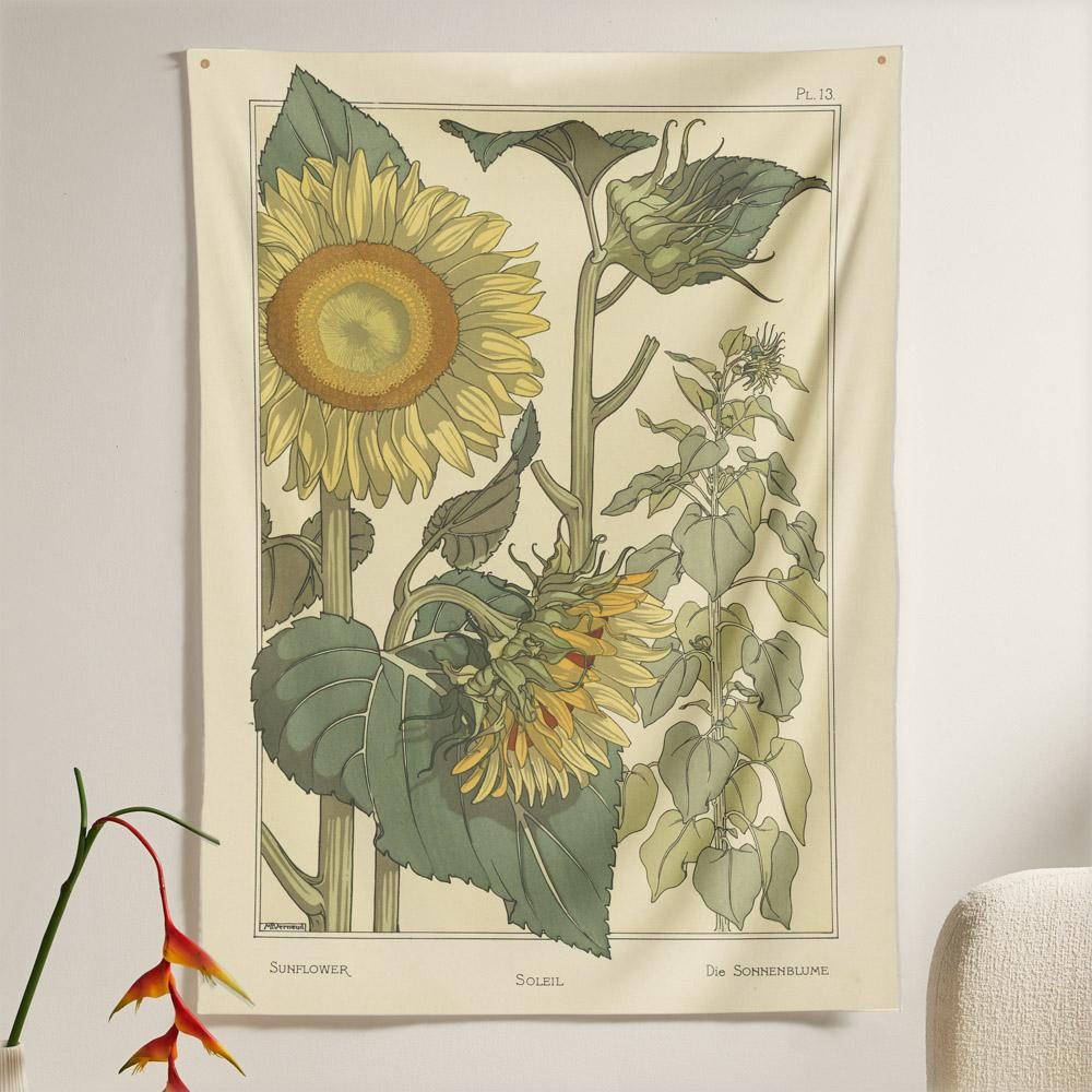 The Sunflower Flora Tapestry (60x40 inches / 150x100 cm) from Nirvana Threads is the perfect vintage flora gift to say I love you but I also love classic garden floral wall hanging boho bedroom vibes