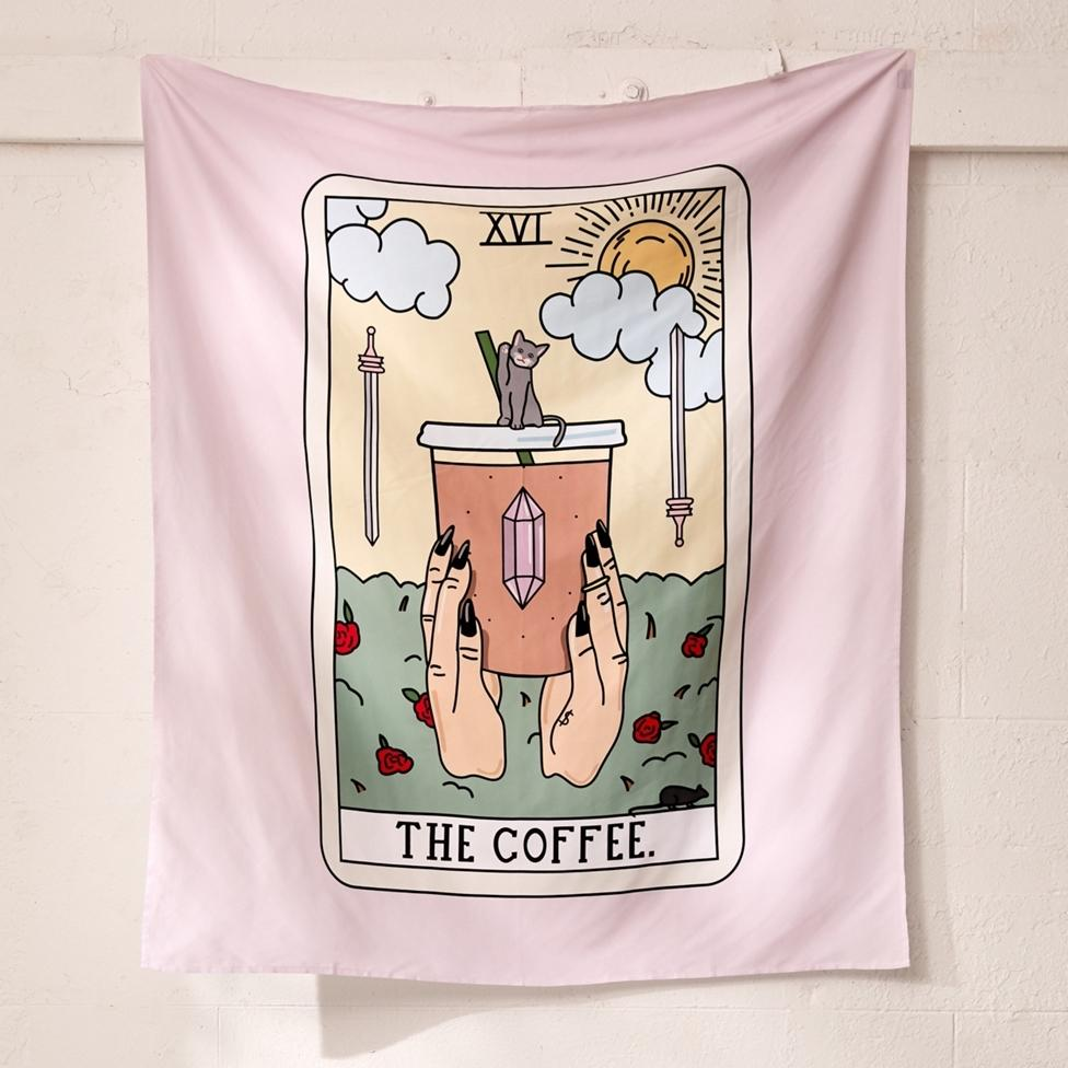 Coffee Tarot Tapestry-nirvanathreads