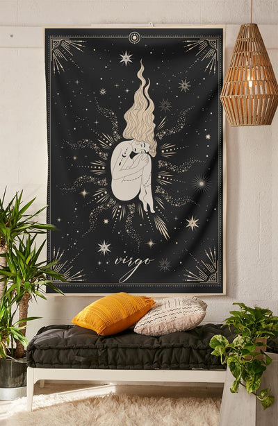 The-Virgo Tapestry-is-a-great-gift-to-say-I-love-you-but-I-also-love-astrology-tarot-wall-hanging-boho-bedroom-zodiac-vibes-from-NirvanaThreads-Nirvana-Threads