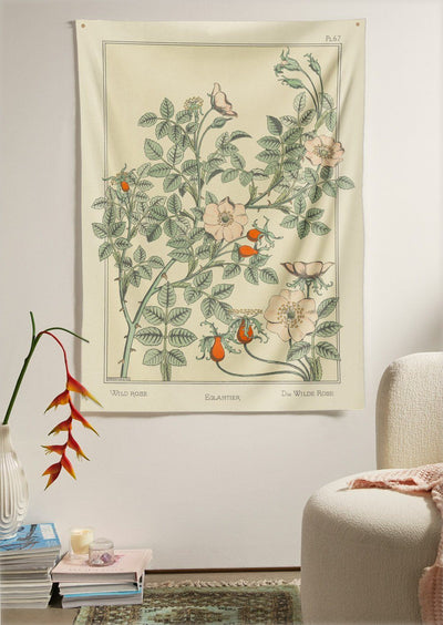 The Wild Rose Flower Tapestry (60x40 inches / 150x100 cm) from Nirvana Threads is the perfect vintage flora gift to say I love you but I also love classic garden floral wall hanging boho bedroom vibes
