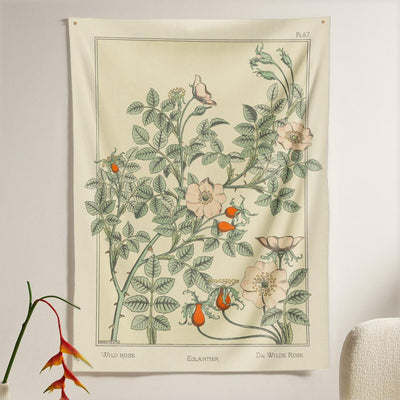 The Wild Rose Flower Tapestry (80x60 inches / 200x150 cm) from Nirvana Threads is the perfect vintage flora gift to say I love you but I also love classic garden floral wall hanging boho bedroom vibes