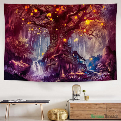 Ruby Wishing Tree Tapestry-nirvanathreads