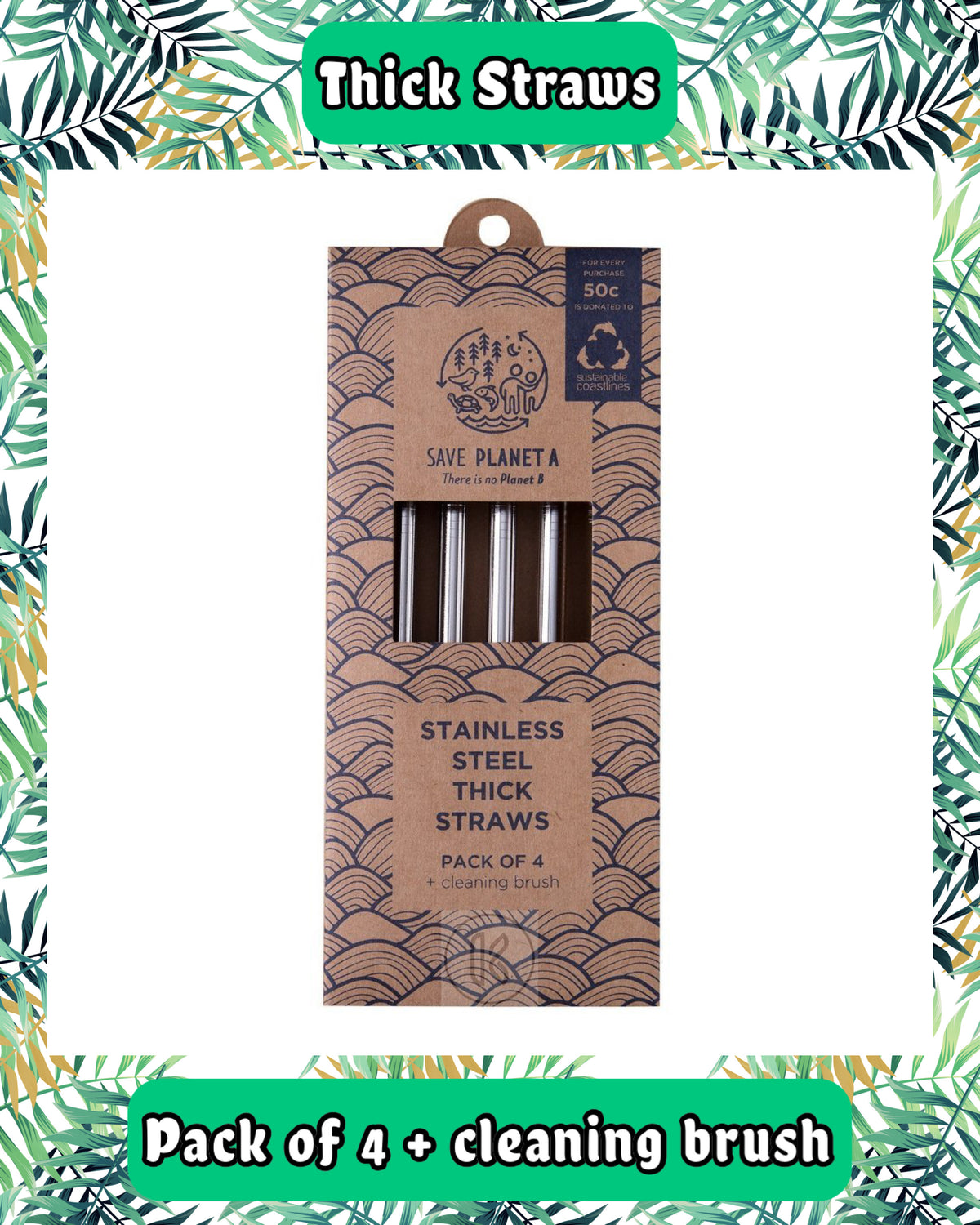 Stainless Steel Reusable Thick Straws - Kind Living Store