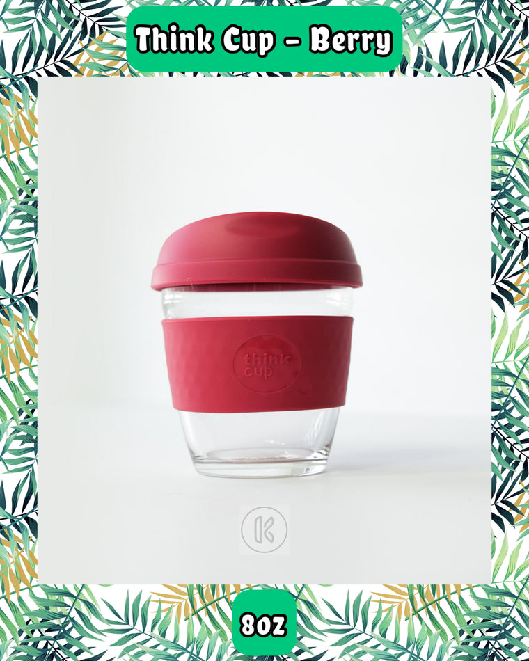 Think Cup Reusable Glass Coffee Cup - 8oz Berry