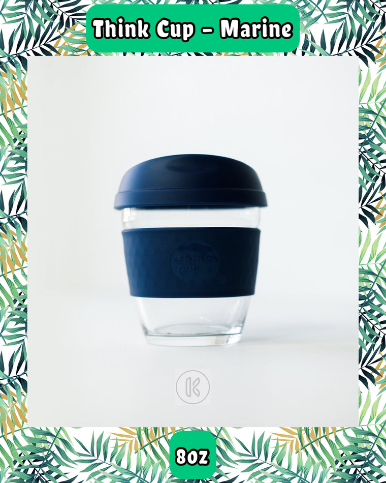 Think Cup Reusable Glass Coffee Cup 8oz Marine