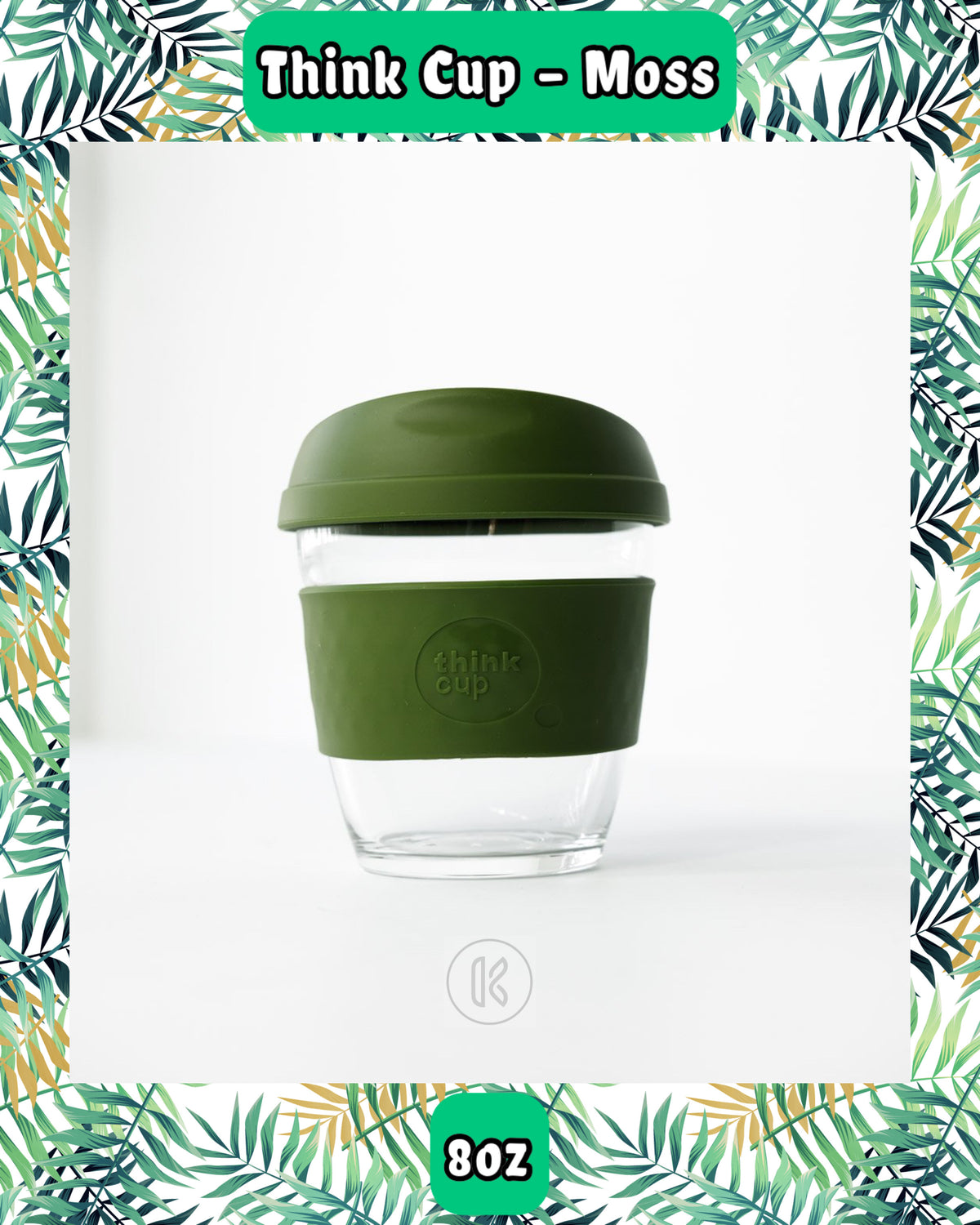 Think Cup Reusable Glass Coffee Cup - 8oz Moss - Kind Living Store