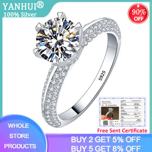 YANHUI With Certificate Silver 925 Jewelry Imitated Moissanite Ring Luxury 2.0ct Zircon 925 Silver Wedding Band Rings for Women