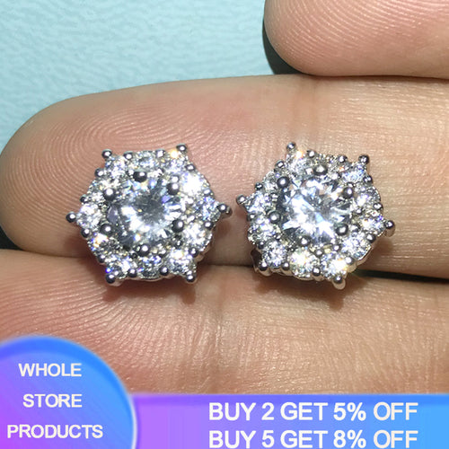 2020 New Design Fine Zirconia Diamond Stud Earrings Original 925 Silver Earrings For Woman Elegant Wedding Jewelry Accessories