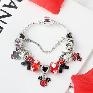 Cartoon Mickey Minnie Beads Charms Bracelet 925 Silver Safety Chain Bracelet & Bangle For Women Kids Jewelry Dropshipping SL09