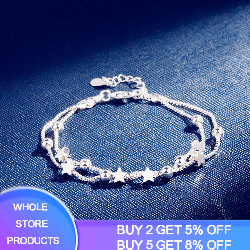 YANHUI 925 Sterling Silver Double Layer Link Bracelets with Stars and Beads Charms Bracelets for Women Girl Trendy Fine Jewelry