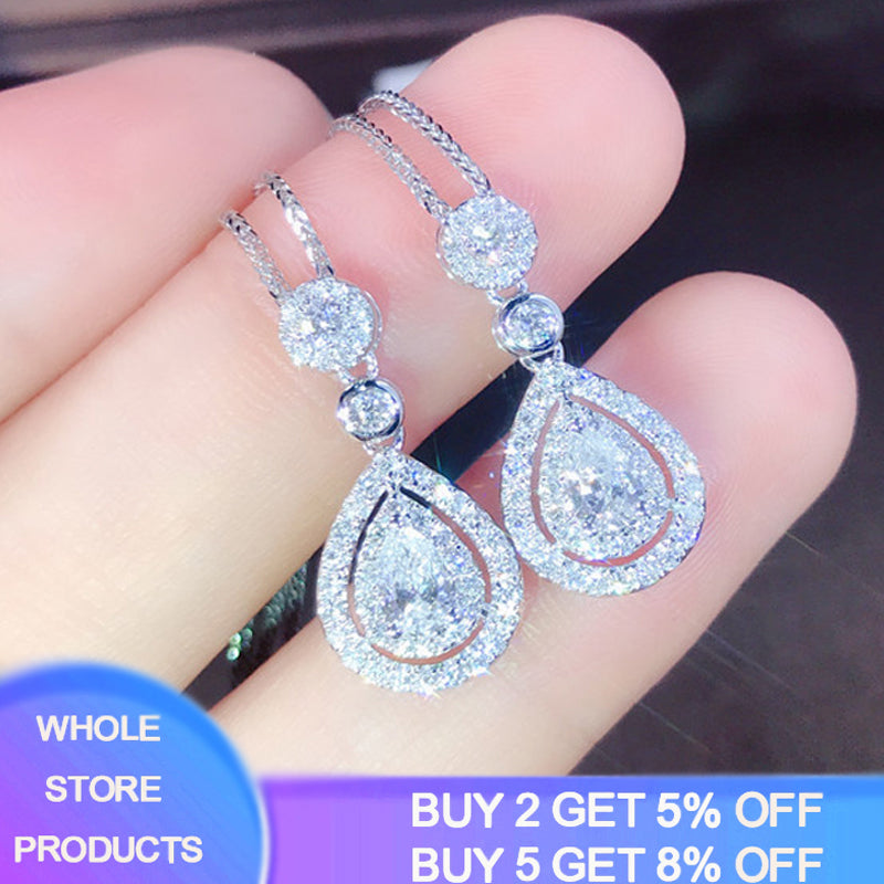 YANHUI Fashion Crystal Water Drop Pendant Necklaces For Women Short Clavicle Chain Choker 925 Sterling Silver Jewelry Girl DN685