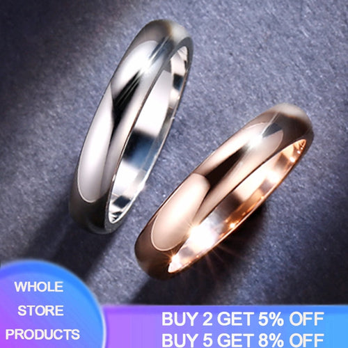 2020 New Rose Gold/White Gold Color Rings Unisex 4.5mm Thin Engagement Rings Fashion Jewelry For Men Women Dropshipping R050