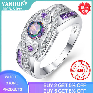 YANHUI Dropshipping Fashion Women Wedding Jewelry Oval Heart Design Multicolor&Purple White CZ Silver 925 Rings Rings Size 5-13