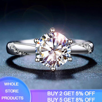 YANHUI With Certificate Whole 925 Solid Silver Moissanite Rings Women Luxury Style 1ct Lab Diamond Fine Jewelry Anniversary Ring