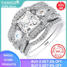Load image into Gallery viewer, YANHUI New Design 3pcs in one 925 Solid Silver Wedding Rings Sets Bridal Classic Engagement Band Rings For Women Jewelry SR280