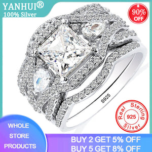YANHUI New Design 3pcs in one 925 Solid Silver Wedding Rings Sets Bridal Classic Engagement Band Rings For Women Jewelry SR280