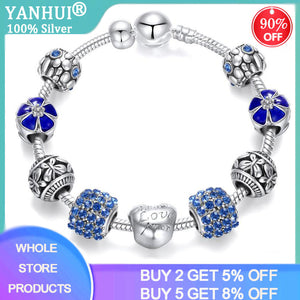YANHUI Antique Silver Charm Bracelet & Bangle with Love and Flower Beads Women Wedding Jewelry 4 Colors 18CM 19CM 20CM 21CM B052
