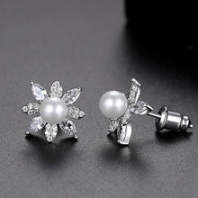 Load image into Gallery viewer, LUOTEEMI Imitation Pearl Stud Earrings for Women Fashion Jewelry Flower Cluster Boucle D'Oreille Femme Wedding Engagement Gifts