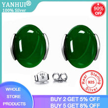 Load image into Gallery viewer, YANHUI 100% 925 Sterling Silver Emerald Gemstones Stud Earrings For Women Silver 925 Jewelry Wholesale DEC39