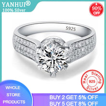 Load image into Gallery viewer, YANHUI Classic Luxury Real Solid 925 Sterling Silver Ring 1Ct 10 Hearts Arrows Zirconia Diamond Wedding Jewelry Rings For Women