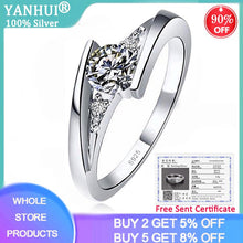 Load image into Gallery viewer, Free Sent Certificate Genuine 925 Sterling Silver Ring 5mm CZ Zircon Finger Rings for Women Wedding Anniversary Jewelry Anel
