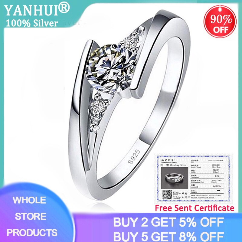 Free Sent Certificate Genuine 925 Sterling Silver Ring 5mm CZ Zircon Finger Rings for Women Wedding Anniversary Jewelry Anel