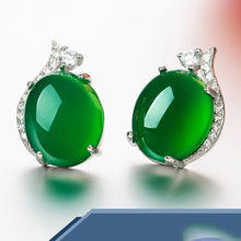 Load image into Gallery viewer, 100% Original 925 Silver Wedding Stud Earrings for Women Round Simple Crown Natural Jade Earrings Fine Valentine Gift for Women